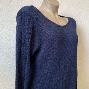 Rachel Zoe Navy Ribbon Yarn Knit Sweater size XXL